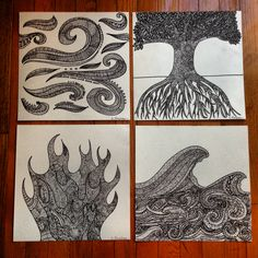 Sharpie zentangle of all four elements: wind, earth, fire and water. #zendoodle #zentangle #sharpieart #diy #art #sharpie #earth #wind #fire #water #elements #motherearth