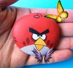 Angry Bird Hand Painted Pebble! Acrylic Painting, pebble art, miniature paintings. Finished with Glossy Varnish Hand Painted angry bird stone ! A gift idea for your kids, handmade painted stone made by me! Is painted on a smooth sea stone which i have<br> Pebble Painting, Pebble Art, Stone Painting, Valentine Box, Valentine Day Gifts, Rock Crafts, Diy Crafts, Miniature Paintings, Kids Hands