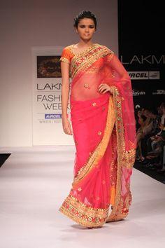 Hot Pink & Orange Sari