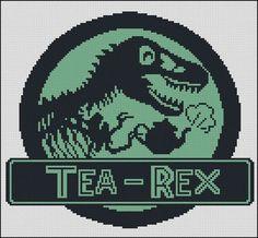 BOGO FREE! Tea Rex Cross Stitch Pattern Dinosaur T-Rex Needlecraft Embroidery Needlework PDF Instant Download #001-2