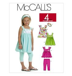 McCall's Patterns Children's/Girls' Top, Dresses, Leggings and Headband, Size CE - box email Tops For Leggings, Dresses With Leggings, Little Girl Dresses, Girls Dresses, Girl Top Dress, Under Armour, Mccalls Sewing Patterns, Sorority Shirts, T Shirt And Jeans