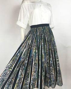 1950s cotton print circle skirt. Shop prettypennyclothing.com