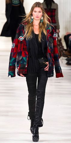 Runway Looks We Love: Polo Ralph Lauren and Ralph Lauren Collection - Polo Ralph Lauren from #InStyle. Patchwork red & turquoise wool coat. Fashion Week 2014.