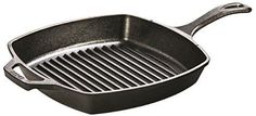 Feature: - Ribbed bottom for low-fat cooking - Pre-Seasoned and ready-to-use - Superior heat retention and even cooking - Use on all cooking surfaces, grills, campfires and oven safe - Made in the USA The Lodge Cast Iron 10.25-inch square Grill Pan puts restaurant stripes on your grilled favorites like a pro. Helps with low fat cooking as the ribbed bottom pan lets you keep foods from simmering in fatty drippings. Cast-iron is a multi-functional cookware that works wonders with slow-cooking…