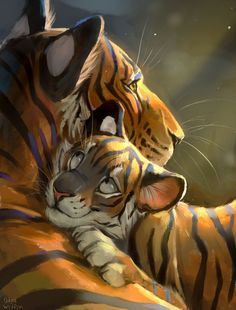 Tender love by Welion on DeviantArt Big Cats Art, Furry Art, Cat Art, Cute Animal Drawings, Animal Sketches, Cute Drawings, Tiger Pictures, Art Pictures, Beautiful Cats