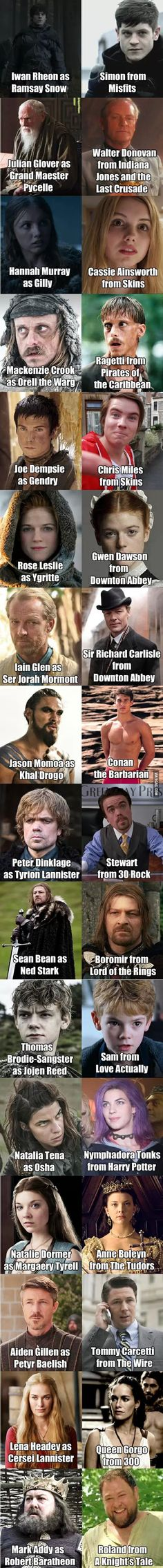 #GameofThrones characters on other shows. I think Peter Drinklage's photo is from Elf.