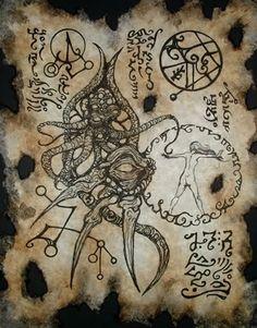 Necronomicon Fragment 017 <br>Eine erhaltene Seite aus dem originalen Werk des verrückten Arabers Abdul Alhazred - Replikate aus dem Cthulhu Mythos von verschiedenen Künstlern geschaffen.