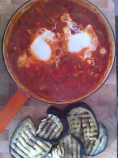 Eggs in purgatory (a Nigella Lawson recipe) served with griddled aubergines