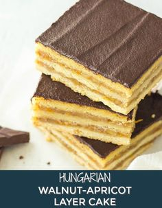 This Walnut-Apricot Layer Cake is a delicious Hungarian dessert recipe. it will make a make ahead potluck or picnic dessert. Great for Father's Day dessert too. Savoury Pastry Recipe, Homemade Pastries, Shortcrust Pastry, Pastry Recipes, Potluck Desserts, Easy Desserts, Dessert Recipes, Potluck Recipes, Meals