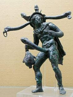 Tintinnum with polyphallic Mercury (Greek Hermes) - In ancient Rome,Tintinnabulum (often Tintinnum) was a wind chime or assemblage of bells, about 1st century AD,   Naples Archaeologicmuseum