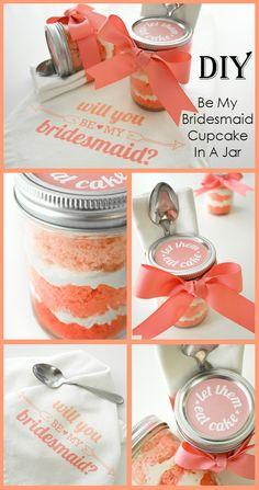 DIY Be My Bridesmaid Cupcake In A Jar - Wedding Ideas By You