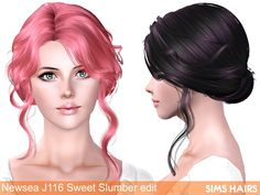 Newsea's J116 Sweet Slumber hairstyle retexture by Sims Hairs for Sims 3 - Sims…