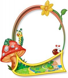 Для детского сада Рамка для фото деская. Мухомор и гусеница рамки