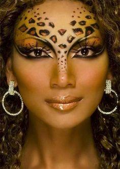 Leopard Face Make Up: 56 Great Ideas! Leopard Makeup, Leopard Face, Animal Makeup, Clown Makeup, Eye Makeup, Halloween Face Makeup, Leopard Halloween, Halloween Make Up, Colorful Makeup