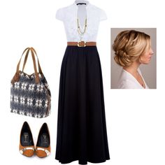"""""""Wear a Maxi Skirt to Work"""" by rebecca-olmstead on Polyvore"""