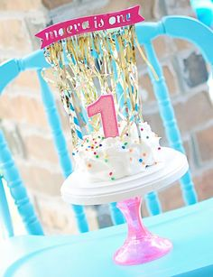 Life {Sweet} Life: Manny & Maeva's Confetti Birthday Party - Part 1 - Coolwhip for a smash cake - love it!