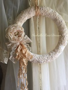 beautiful lace crochet detail on wreath wreath. Black Bedroom Furniture Sets. Home Design Ideas