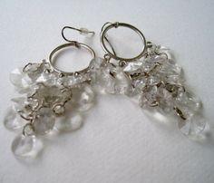 Vintage Retro Hollywood Regency Silvertone Hoop Crystal Bead Chandelier Dangle Earrings by ThePaisleyUnicorn, $4.00