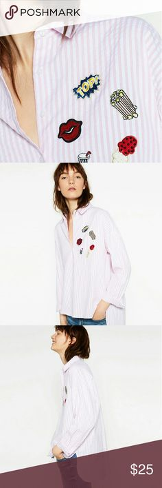 ZARA PATCH SHIRT WITH TAGS- SIZE L Brand new, size L  new with tags Zara Tops Button Down Shirts
