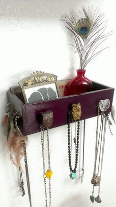 Box Shelf Wall Organizer Wood dark purple owl Jewelry and makeup wall hanging holder for earrings, necklaces, and more via Etsy