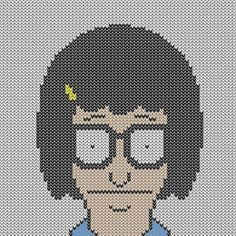 A page full of Bob's Burger's based charts suitable for cross stitch and intarsia.