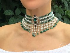 Crystal Bib Choker Flora, Wide Choker, Emerald and Pearl Choker Emerald Jewelry, Pearl Jewelry, Bridal Jewelry, Diamond Jewelry, Beaded Jewelry, Vintage Jewelry, Beaded Necklace, Body Jewelry, Jewelry Sets