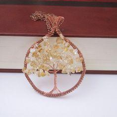 citrine tree of life pendant citrine bealing crystal gemstone jewelry gifts fashion style boho by FloralFantasyDreams Tree Of Life Pendant, Crystals And Gemstones, Plexus Products, Wire Wrapping, Gemstone Jewelry, Jewelry Gifts, Boho Fashion, Copper, Pendants