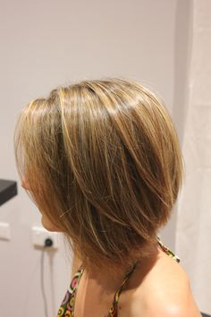 concave bob with a mix of blonde, caramel and hazelnut brown foils