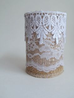 Burlap upcycled tin-can vase dark beige with by BowTweetBabies