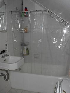 Help, I don't know how to do a shower curtain on my attic bath . Help, I don't know how to do a shower curtain on my attic bath Chez Lar. Attic Shower, Shower Rod, Shower Curtain Rods, Shower Curtains, Upstairs Bathrooms, Attic Bathroom, Modern Bathroom, Small Bathroom, Bathroom Layout