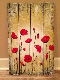 Wood Poppies Red poppy flowers painting on pallet wood by Amy Parker Art.Red poppy flowers painting on pallet wood by Amy Parker Art. Pallet Crafts, Wood Crafts, Arte Pallet, Painting On Pallet Wood, Wood Pallet Art, Painting Walls, Palette Deco, Diy Palette, Red Poppies