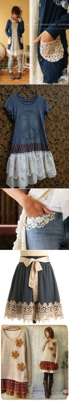 add doilies to a pocketless cardigan - | Doilies