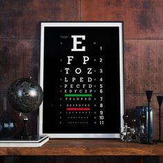 Eye Chart Print Eye Chart Wall Art Eye Chart by BitterMoonStudio