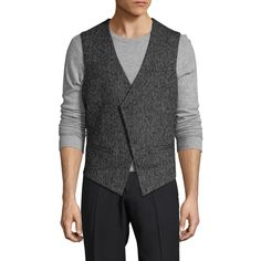 Antony Morato Men's Wool V-Neck Vest - Size 46 (4,320 MXN) ❤ liked on Polyvore featuring men's fashion, men's clothing, men's outerwear, men's vests, multi, mens wool outerwear, mens vest outerwear, mens vest and mens wool vest