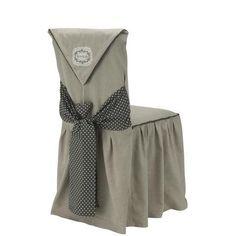 Housse de chaise brodée Campagne - Coton - 45 x 60 cm - Gris