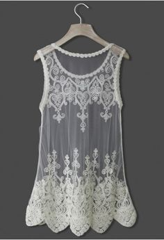 Baroque Embroidery White Mesh Top - Retro, Indie and Unique Fashion