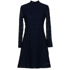 Woodwood Short Dress ($95) ❤ liked on Polyvore featuring dresses, dark blue, blue dress, mini dress, pocket dress, long sleeve lace dress and dark blue dress