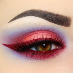 red liner + lashline, peach lid, all blended into lavender @giuliannaa #colourful #colorful makeup