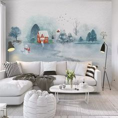 Decorative wallpaper North European wind watercolor hand-painted ink landscape forest children's room background wall Wallpaper Decor, Kids Wallpaper, Wall Treatments, Watercolor Landscape, Love Seat, Hand Painted, Pillows, Bed, Interior