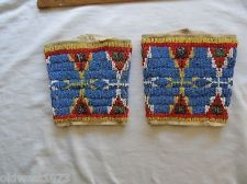 American Indian beaded Cuffs , 19th Century!
