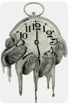 Clock Tattoo Design, Sketch Tattoo Design, Tattoo Sketches, Tattoo Drawings, Tattoo Designs, Drawing Sketches, Drawing Art, Dali, Clock Drawings