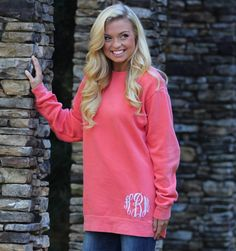 Comfort Color Monogram Sweatshirt - Big Monogram - Great to wear with Leggings- Personalized Sweatshirt - Monogram Tunic -Long length