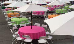 Nice market umbrellas! Paper Table, Market Umbrella, Picnic Time, China Plates, Table Covers, Umbrellas, Mason Jars, Bamboo, Recycling