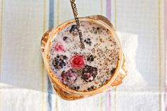Overnight nut butter oats with chia seeds, greek yogurt, and berries. Rolled Oats Recipe Overnight, Chia Overnight Oats, Breakfast On The Go, Breakfast Ideas, Jar Breakfast, Breakfast Recipes, Peanut Butter Jar, Almond Butter, Lactose Free Options