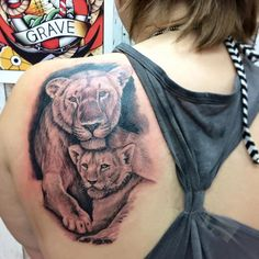 Empire Tattoos Gold Coast Australia artist Damo Gerding specialises in portraits, realism and cover ups. Tattoo lioness and cub portrait