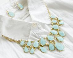 Blue fashion Statement necklace set - TwinkleJewel - 1