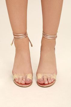 Steve Madden Lyla Heels - Rose Gold Heels - Lucite Heels - Lace-Up Heels - $99.00