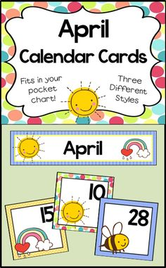 Cards for your April calendar. They fit in your pocket chart! Includes 3 sets of numbers for patterning.