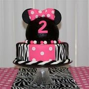 cake with zebra and rice krispie treats for minnie mouse head