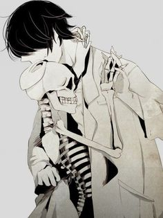 anime, anime boy, black and white